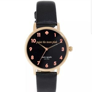 Kate Spade Black Leather Metro Watch